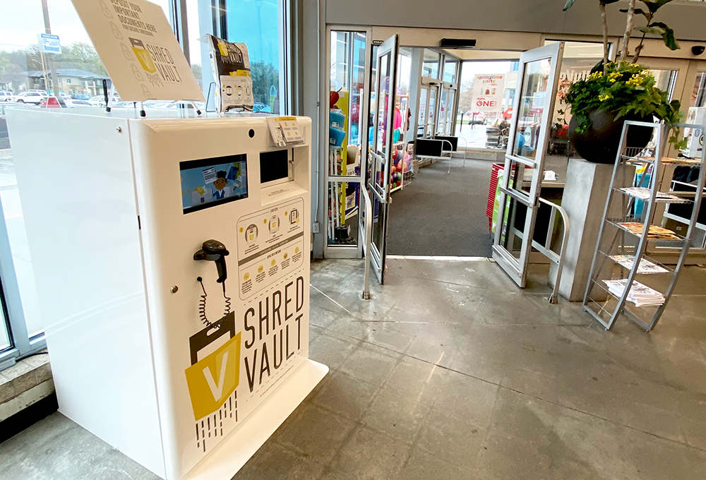 Shred Vault Kiosk Hy-Vee South Central Omaha Indoor View