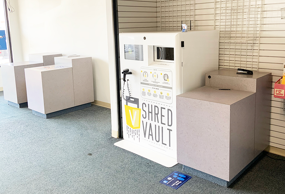 Shred Vault Kiosk iFixOmaha 108th Street The Mailroom Indoor View